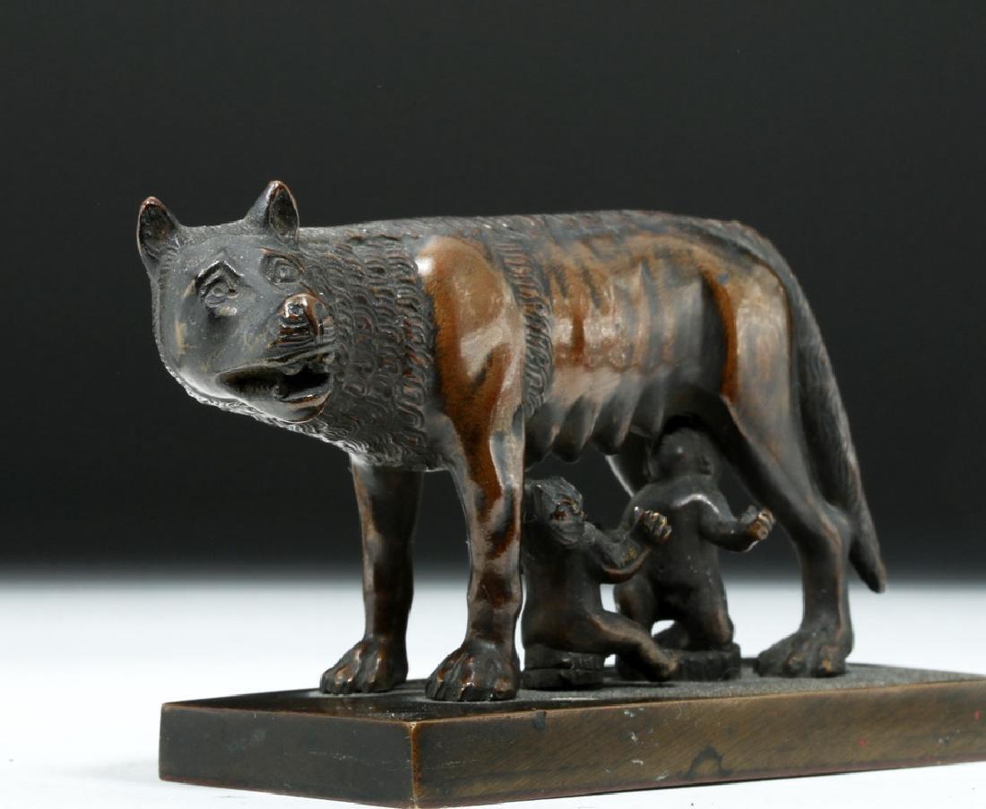 19th C. European Bronze She-Wolf Feeding Romulus, Remus - 5