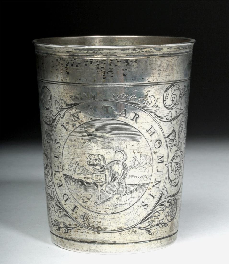 Early 20th C. English Silver Cup w/ Dog