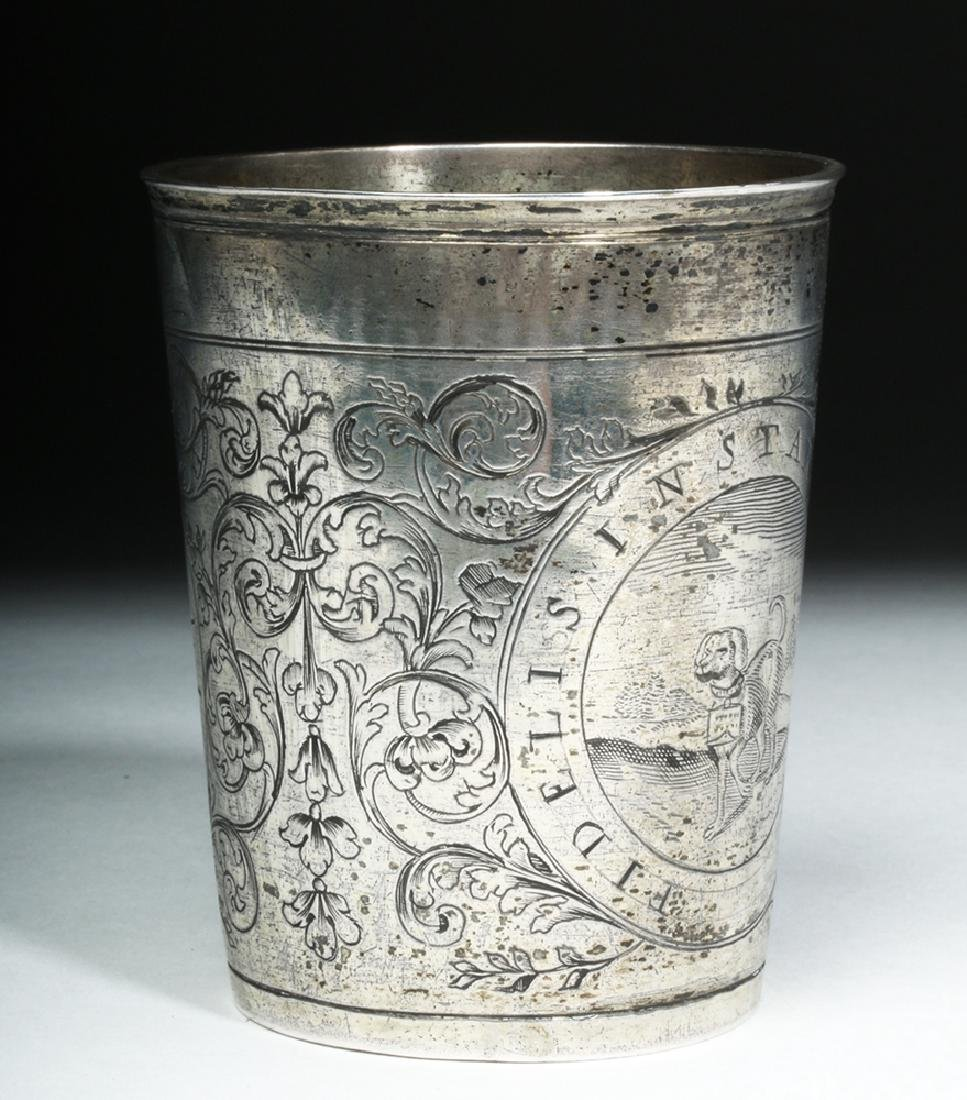 Early 20th C. English Silver Cup w/ Dog - 2