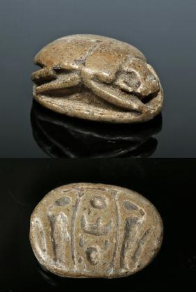 Egyptian Steatite Royal Scarab For Thutmose III