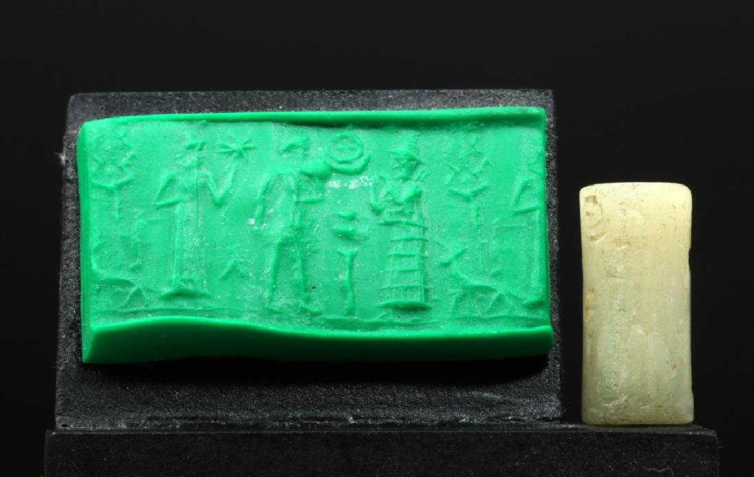 Sumerian White Marble Cylinder Seal - 3 People & Dog