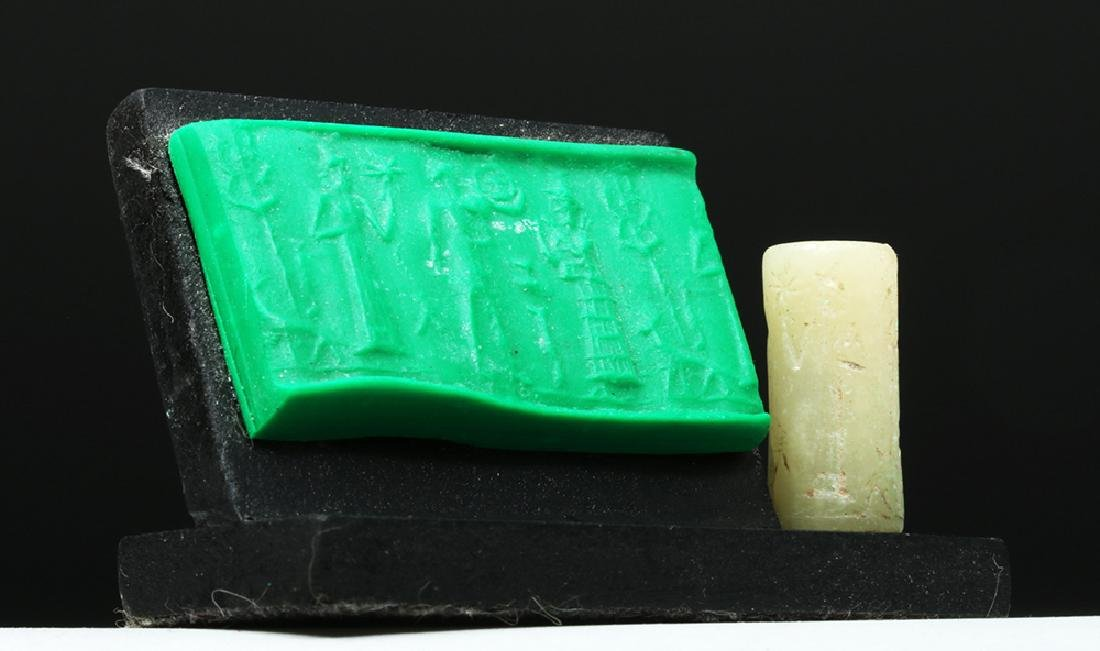 Sumerian White Marble Cylinder Seal - 3 People & Dog - 2