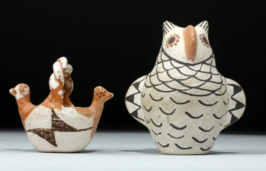 Pair Mid 20th C Acoma Pottery Pieces, Owl & Bird Basket
