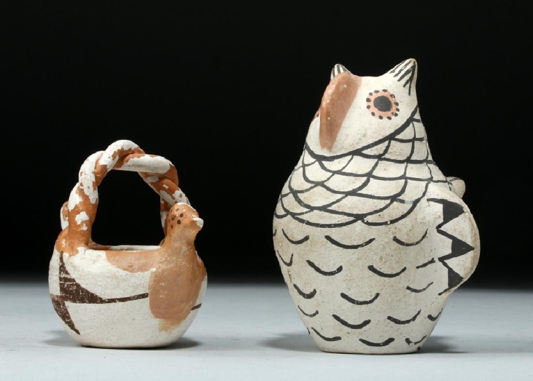 Pair Mid 20th C Acoma Pottery Pieces, Owl & Bird Basket - 2