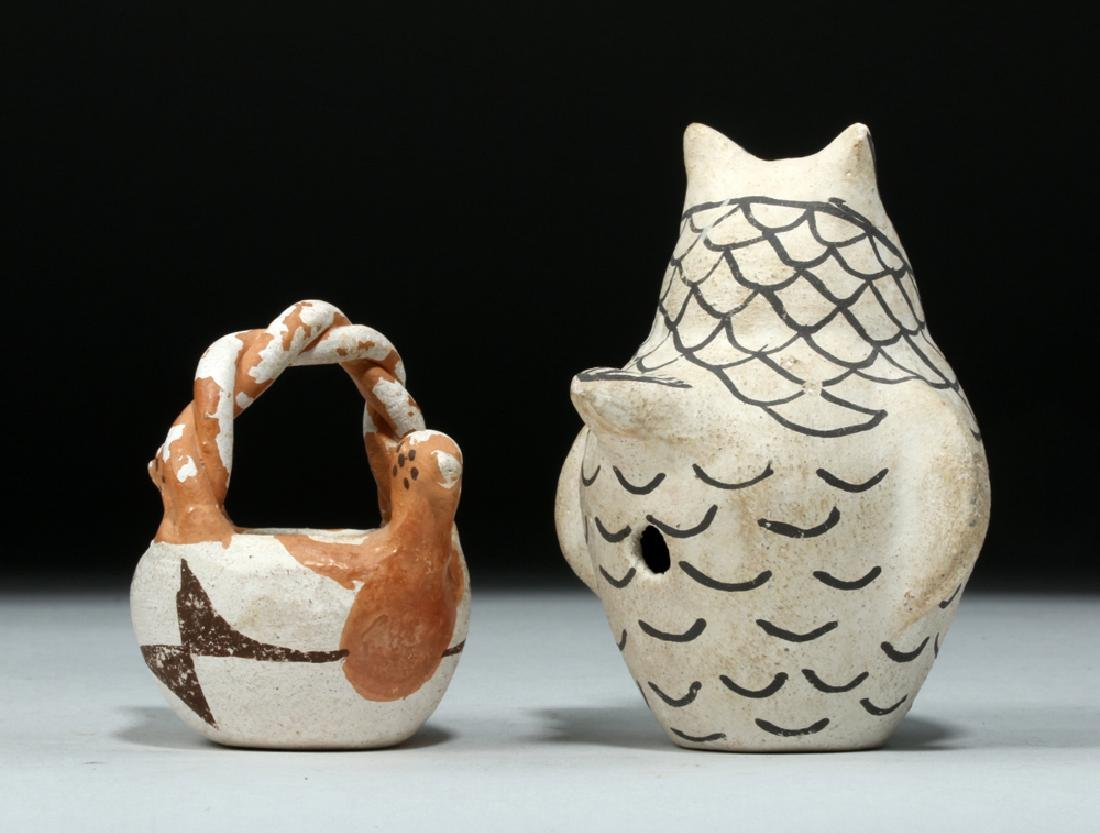 Pair Mid 20th C Acoma Pottery Pieces, Owl & Bird Basket - 4