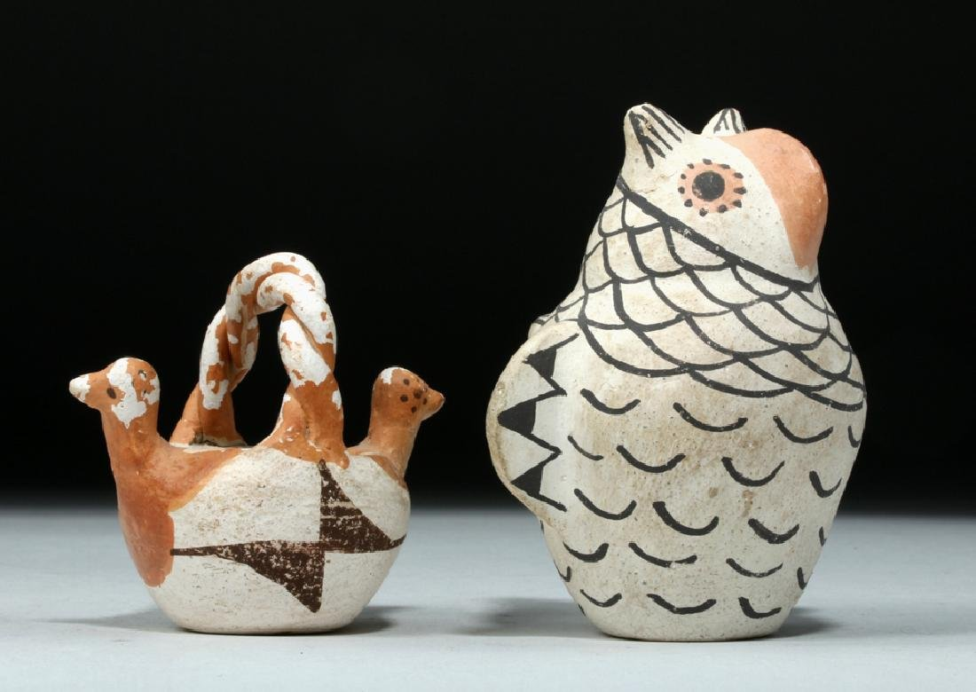 Pair Mid 20th C Acoma Pottery Pieces, Owl & Bird Basket - 5