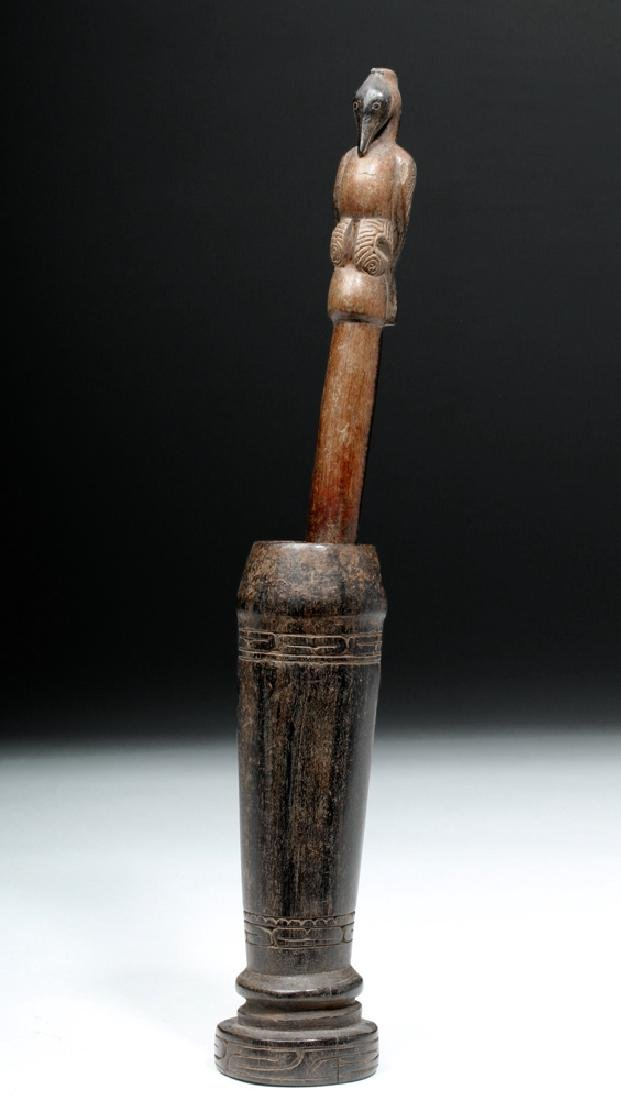 South Pacific Wooden Betel Nut Pounder - Bird