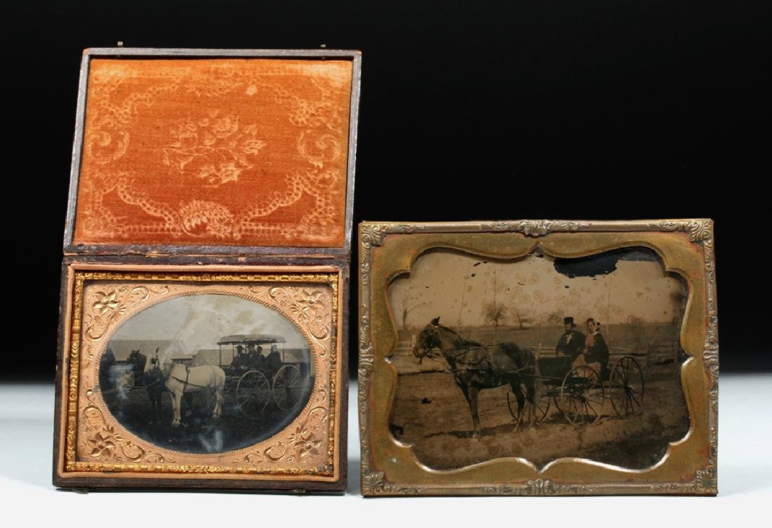 19th C. American Two Ambrotypes w/ Horses