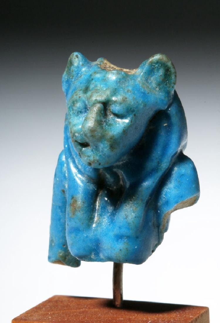 Egyptian Blue Faience Amulet of Sekhmet Lioness