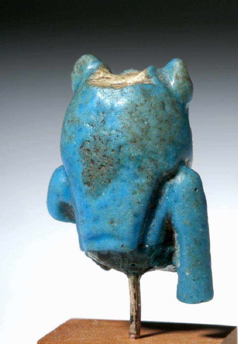 Egyptian Blue Faience Amulet of Sekhmet Lioness - 3