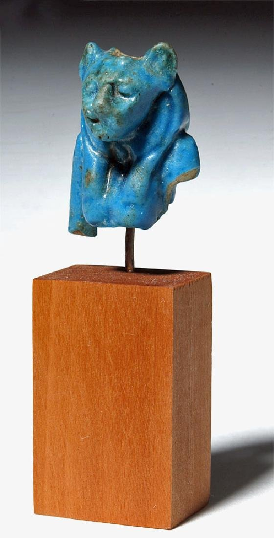 Egyptian Blue Faience Amulet of Sekhmet Lioness - 6