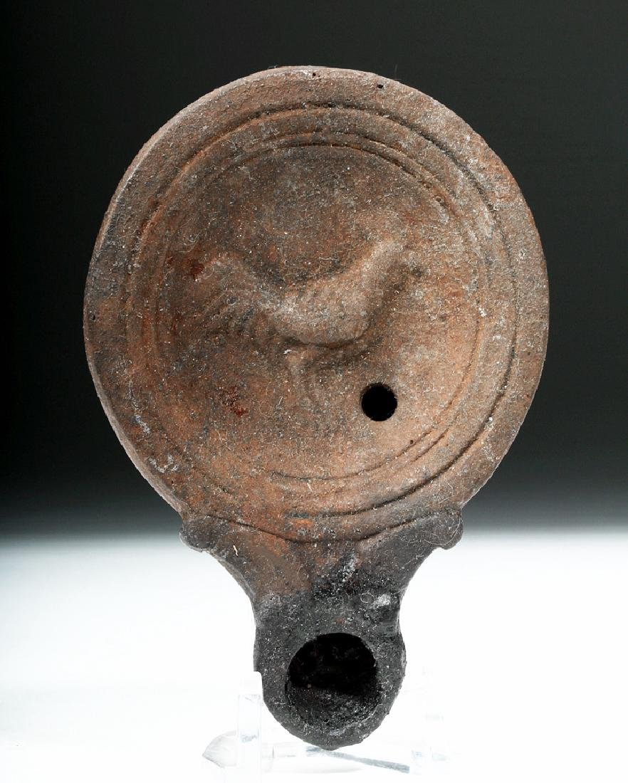 Roman Pottery Oil Lamp w/ Rooster