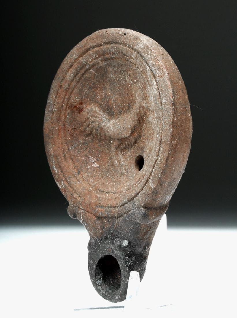 Roman Pottery Oil Lamp w/ Rooster - 2