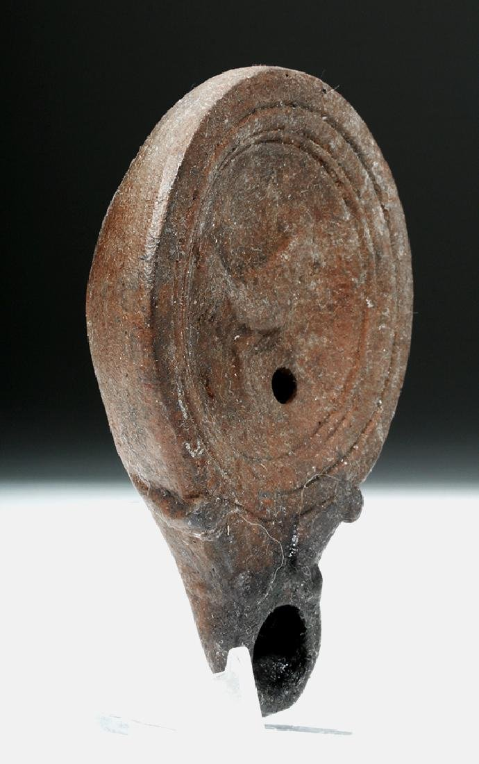 Roman Pottery Oil Lamp w/ Rooster - 3