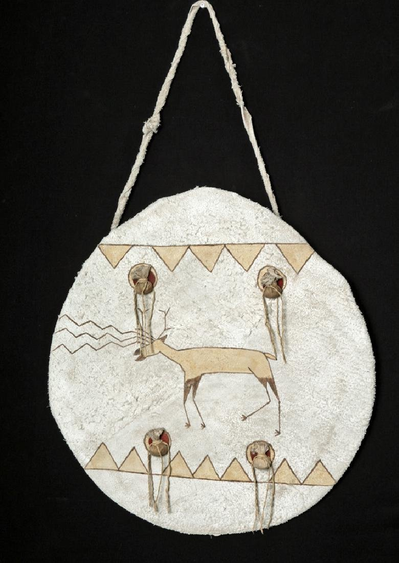 "Early 20th C. Plains Deer Hide ""Shield"" - Standing Deer"