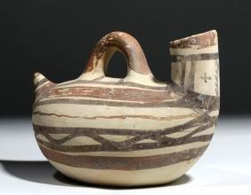 Daunian Polychrome Pottery Duck Askos