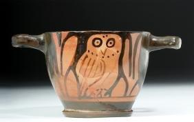 Greek Apulian Pottery Owl Skyphos