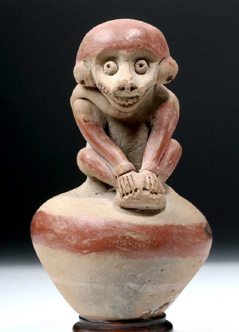 Adorable Chorrera Whistling Jar w/ Monkey