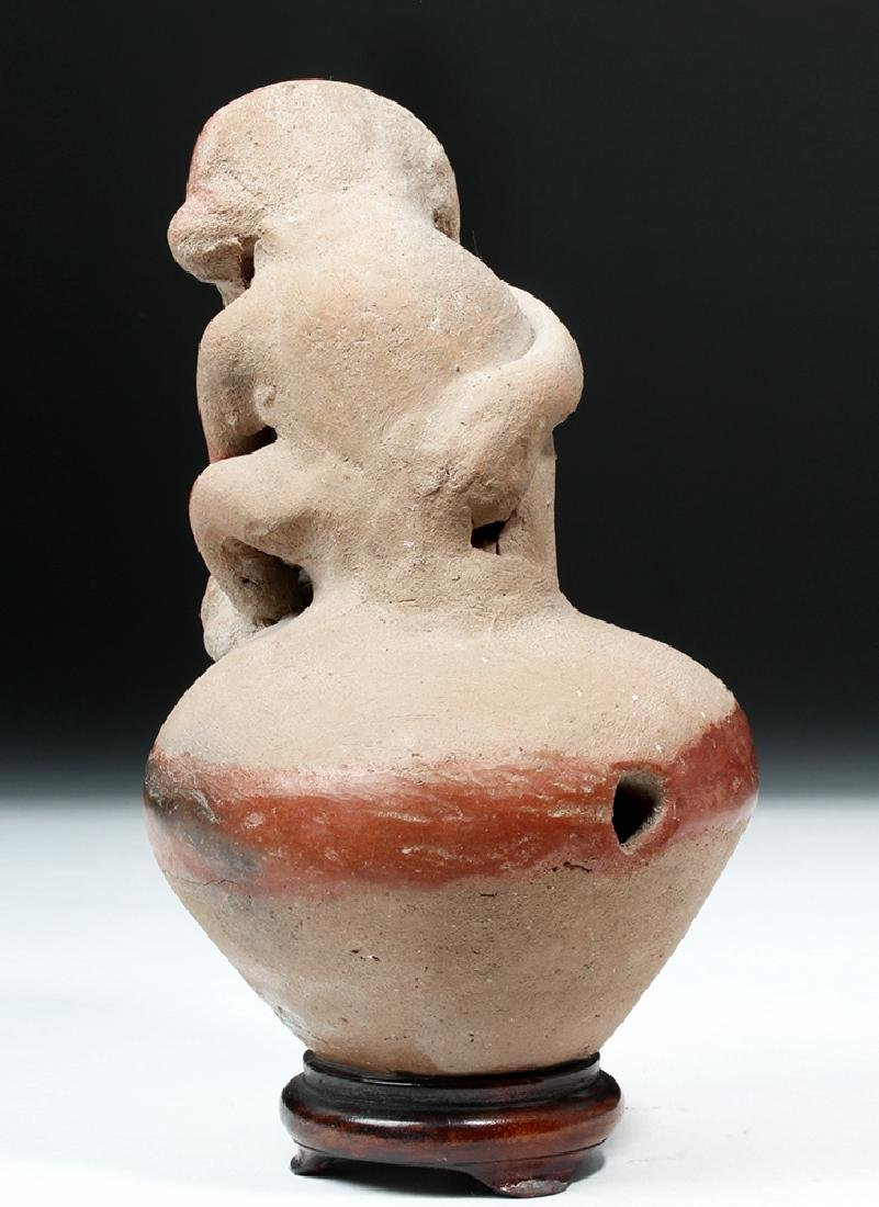 Adorable Chorrera Whistling Jar w/ Monkey - 5