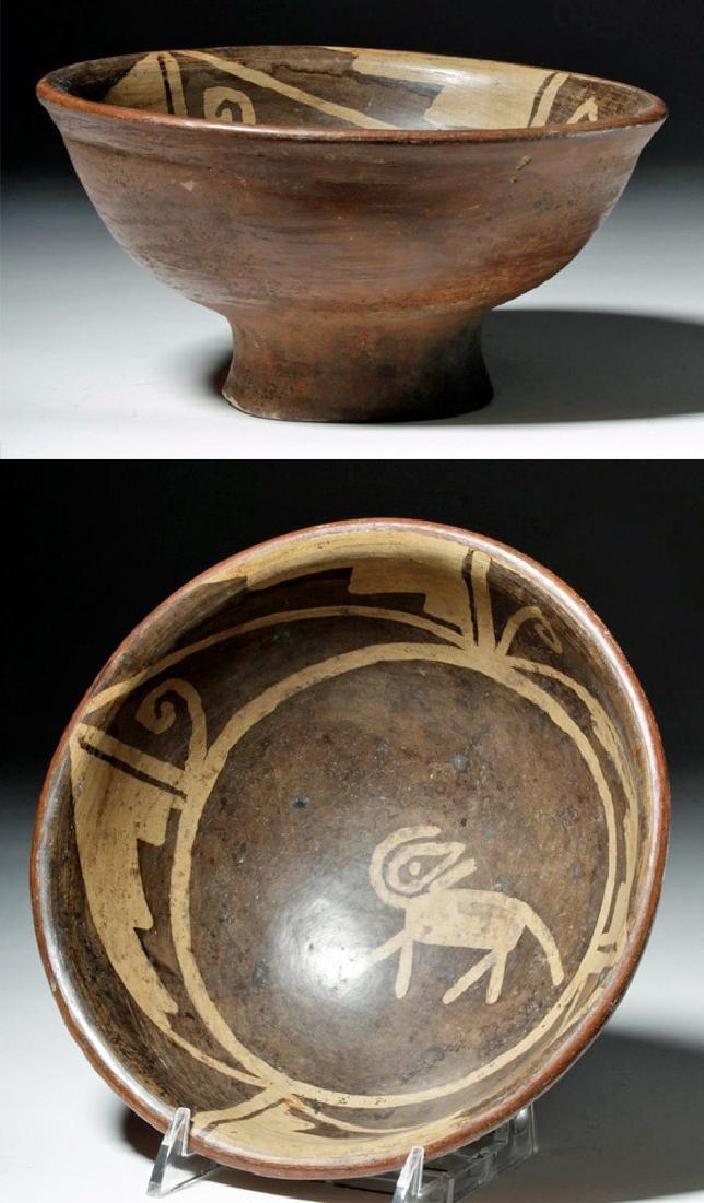 Narino Negative Resist Pottery Bowl w/ Abstract Animal