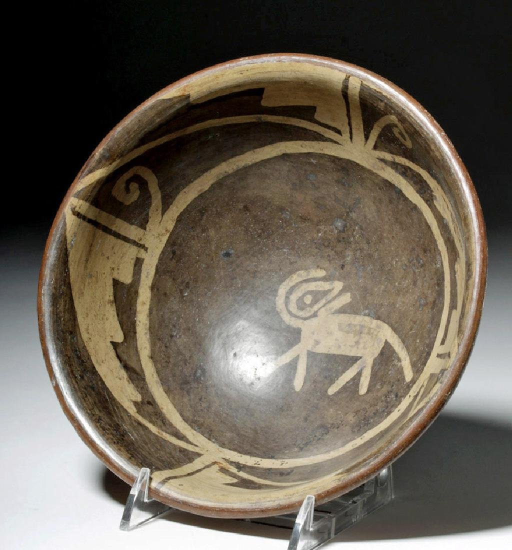 Narino Negative Resist Pottery Bowl w/ Abstract Animal - 2