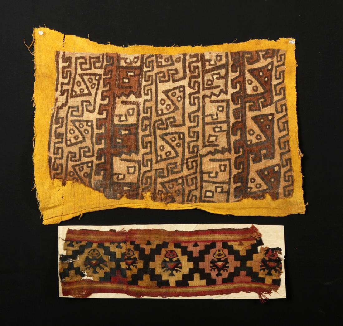 Pair of Ancient Chancay Textile Fragments - Zoomorphs