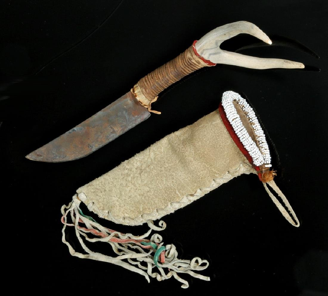 Early 20th C. Native American Deer Antler & Iron Knife