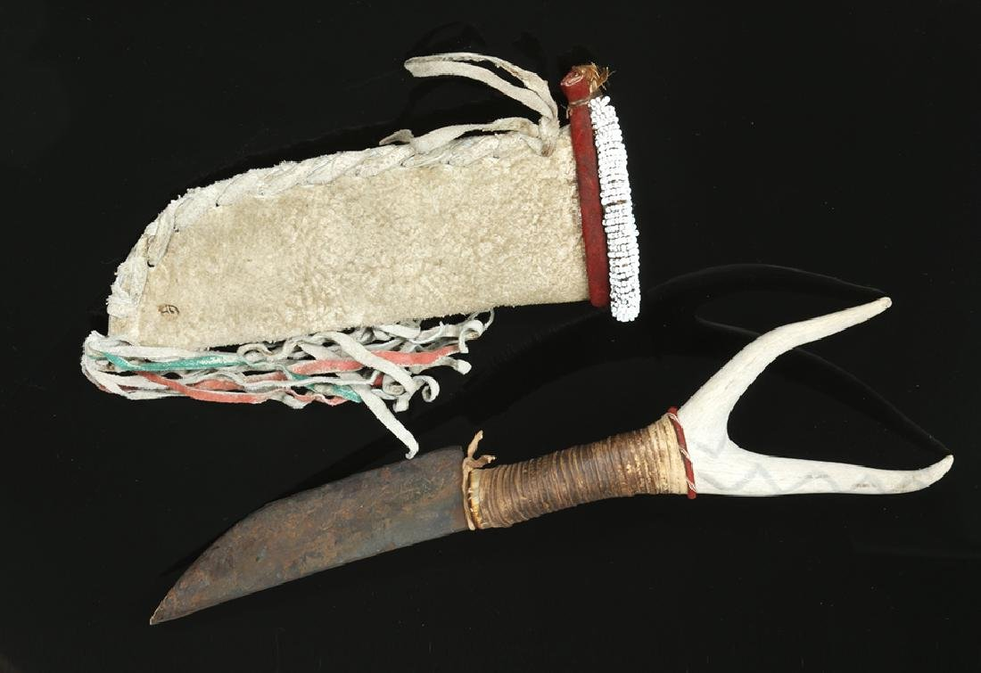 Early 20th C. Native American Deer Antler & Iron Knife - 2