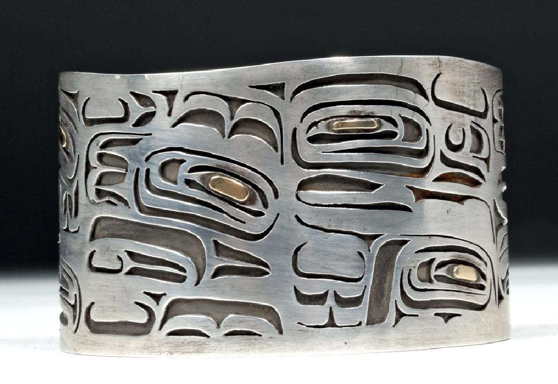 20th C. Northwest Coast Silver & Gold Bracelet - Eagles