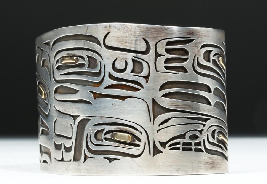 20th C. Northwest Coast Silver & Gold Bracelet - Eagles - 2