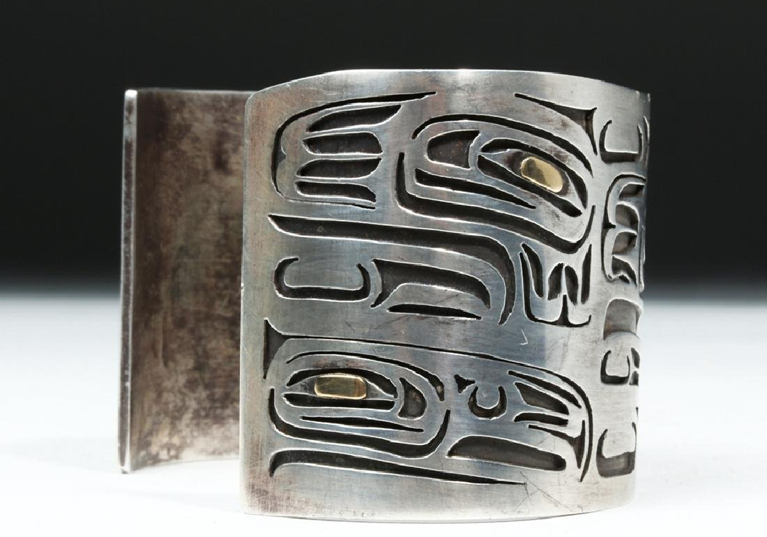 20th C. Northwest Coast Silver & Gold Bracelet - Eagles - 4