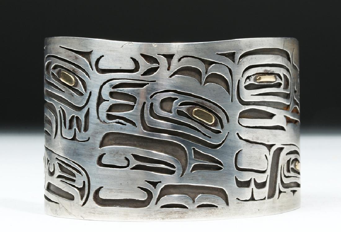 20th C. Northwest Coast Silver & Gold Bracelet - Eagles - 5