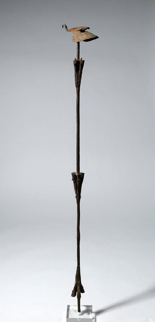 Early 20th C African Yoruba Iron Staff w/ Bird & Bells - 2