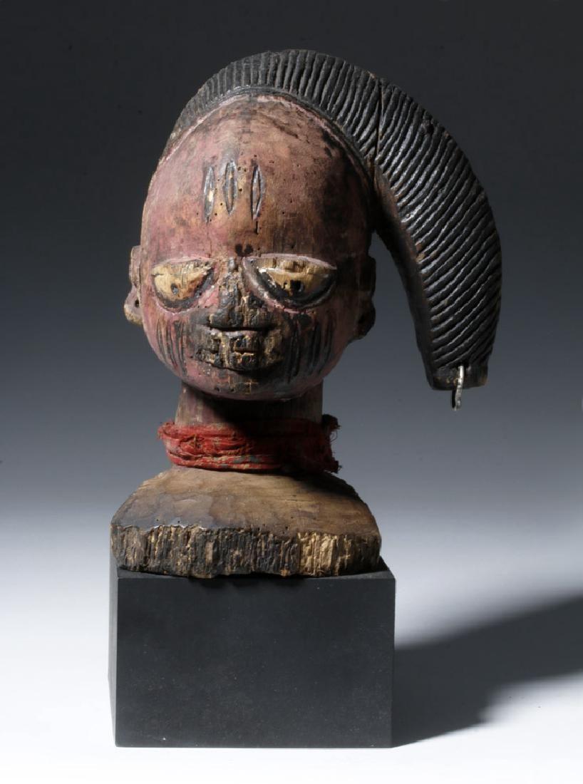1940s Yoruba Painted Wood Headdress - Snake Hair