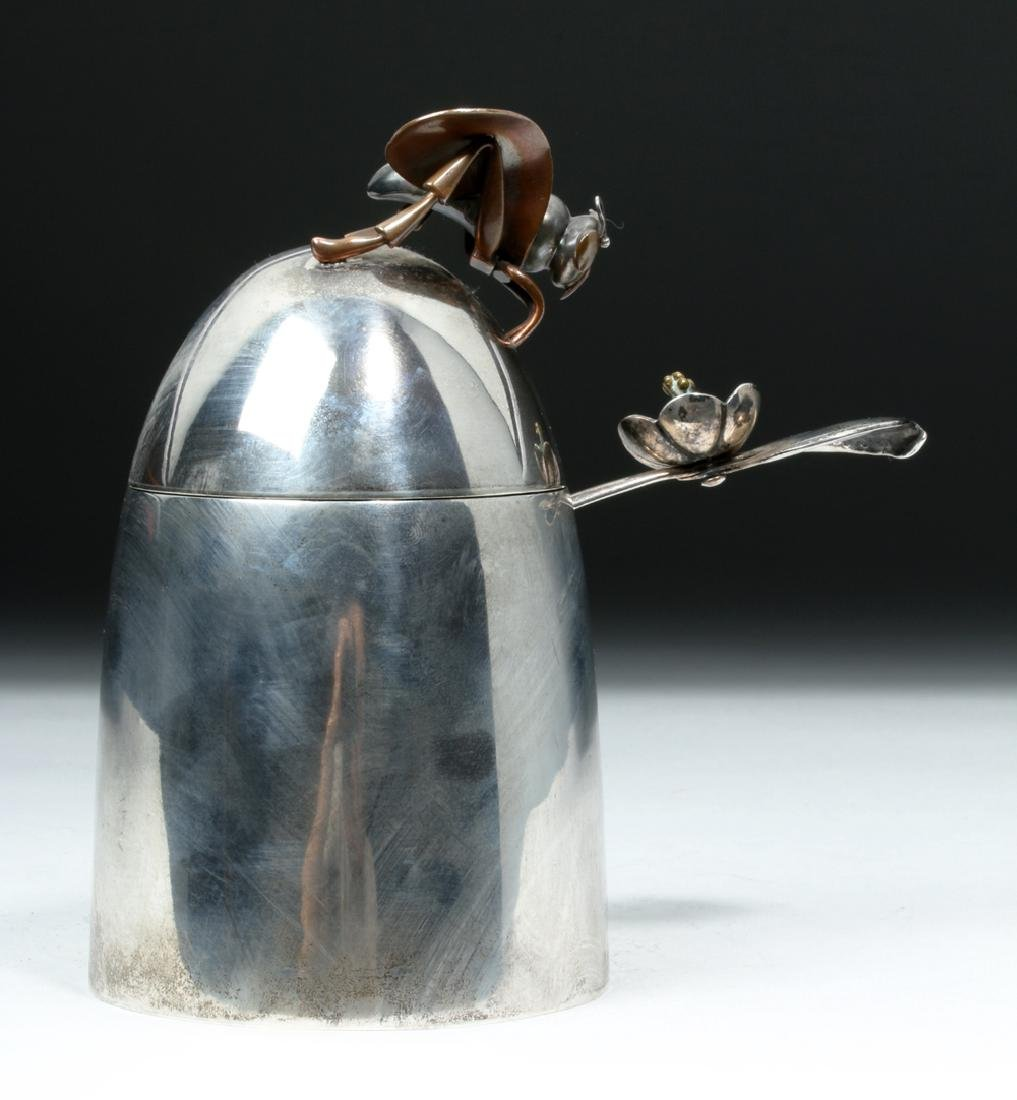 1950's Taxco Mexican Sterling Silver Honey Pot with Bee - 3