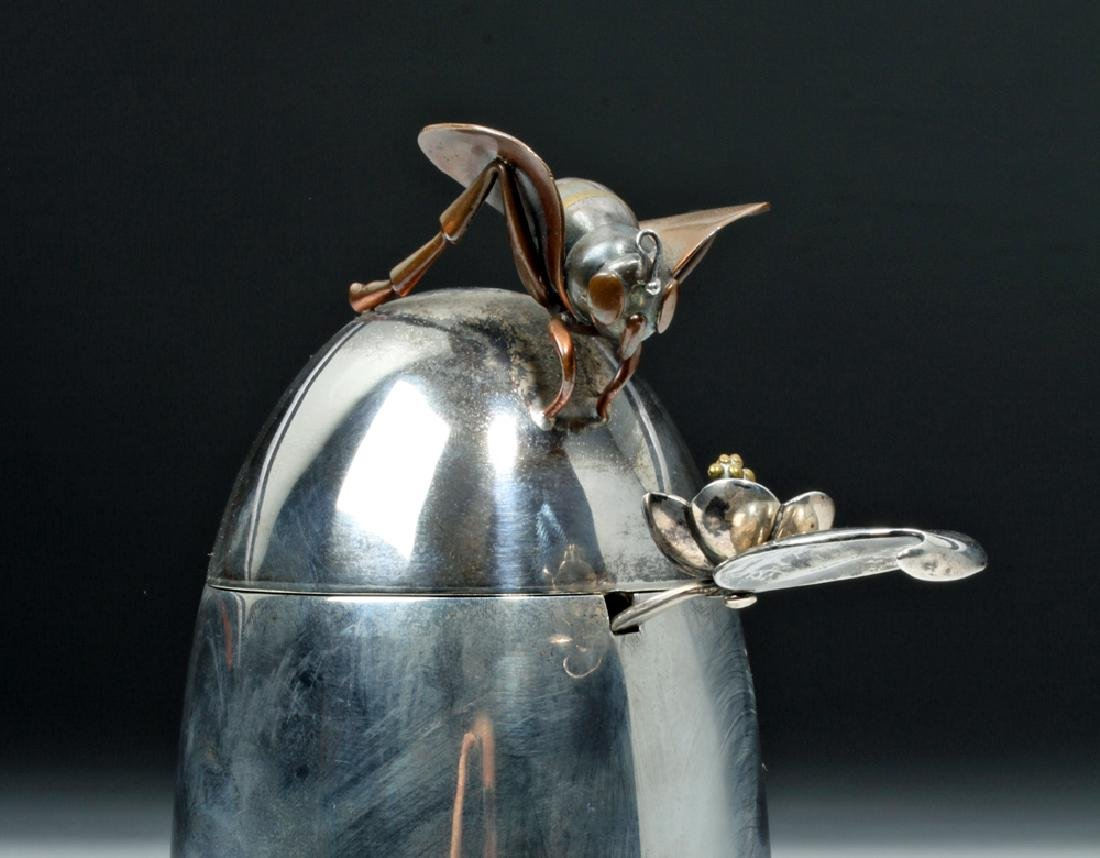 1950's Taxco Mexican Sterling Silver Honey Pot with Bee - 4