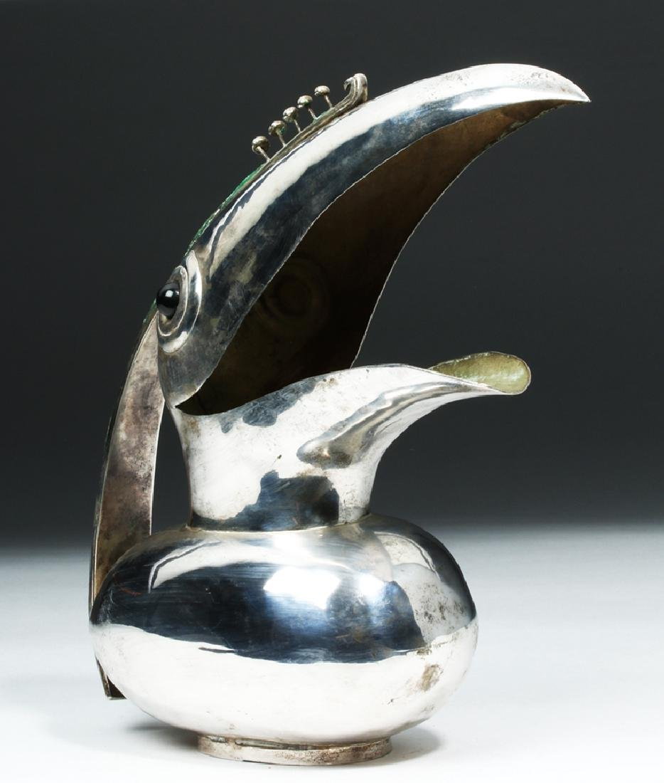 20th C. Mexican Castillo Silver Plated Pitcher - Toucan - 2