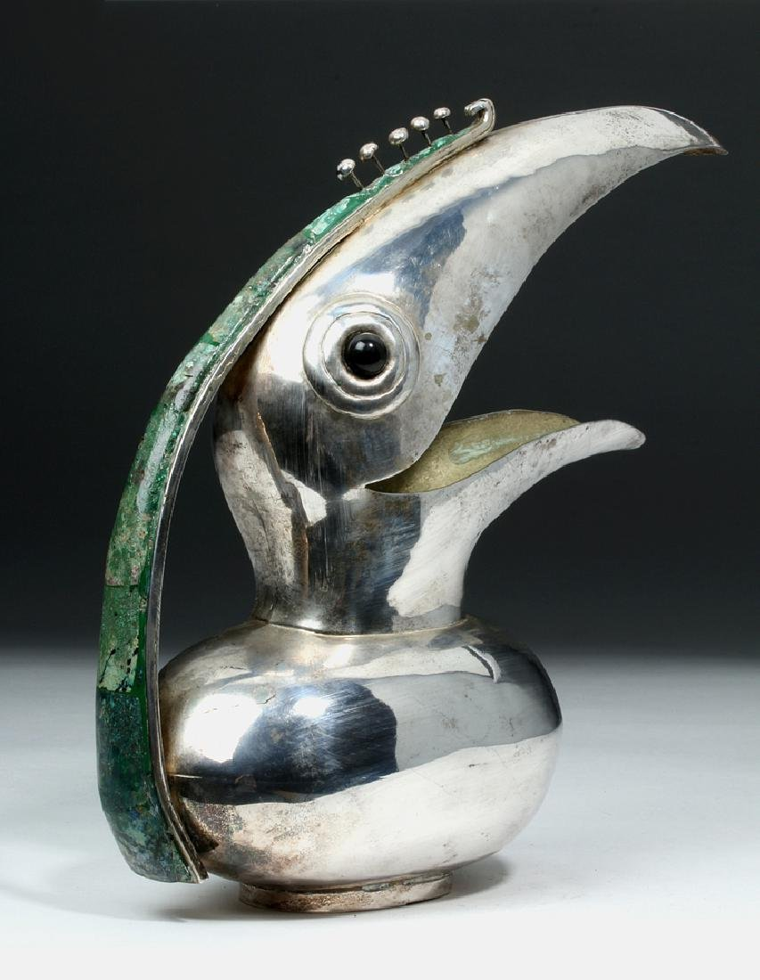 20th C. Mexican Castillo Silver Plated Pitcher - Toucan - 3