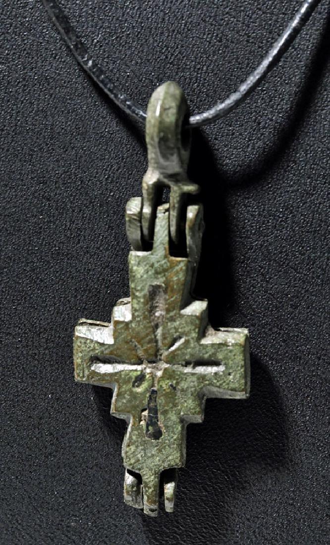 Choice Byzantine Bronze Crucifix Reliquary