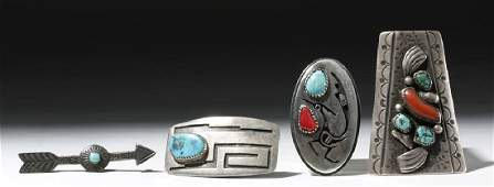 Four 20th C. Southwestern Silver & Turquoise Items