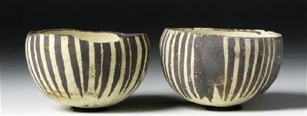 Pair of Near Miniature Chancay Earthenware Bowls