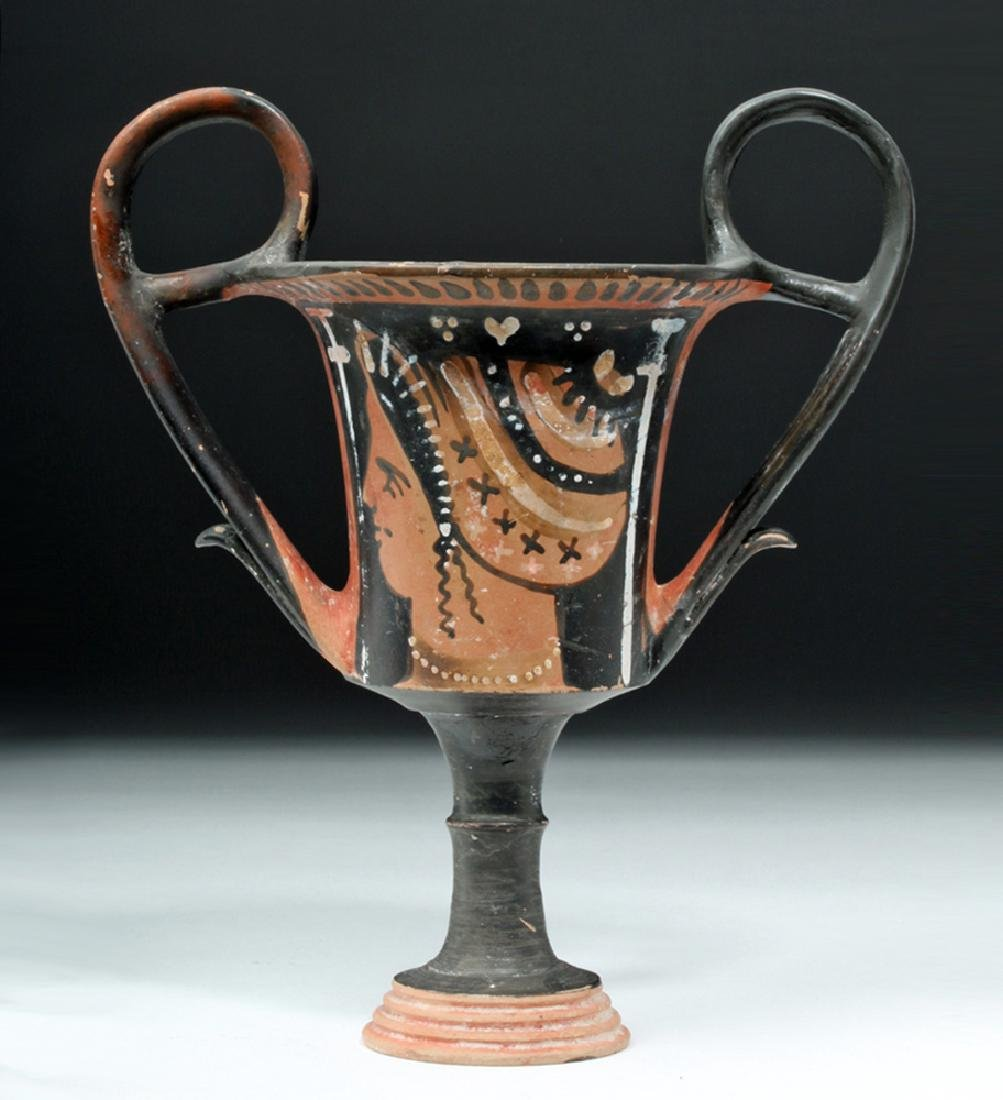 Greek Apulian Pottery Kantharos w/ Lady of Fashion