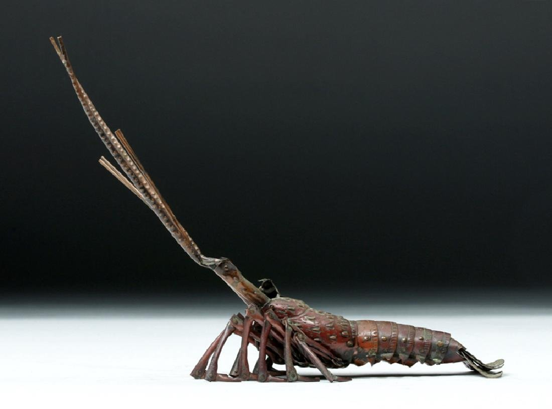19th C. Japanese Bronze Articulated Crustacean - Signed