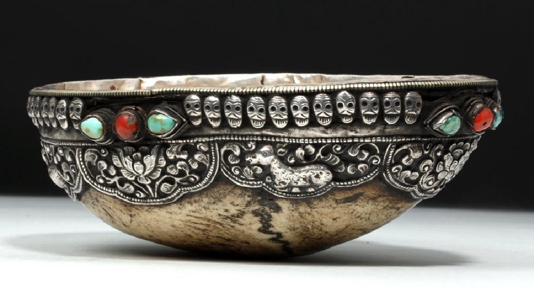 19th C. Tibet Silver & Stone Kapala (Skull)