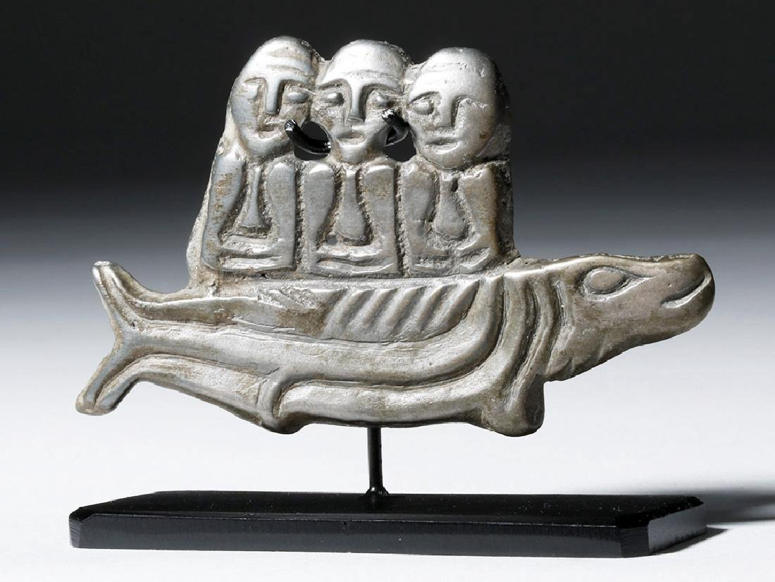 9th C. Russian White Bronze Amulet - 3 Males on Fish