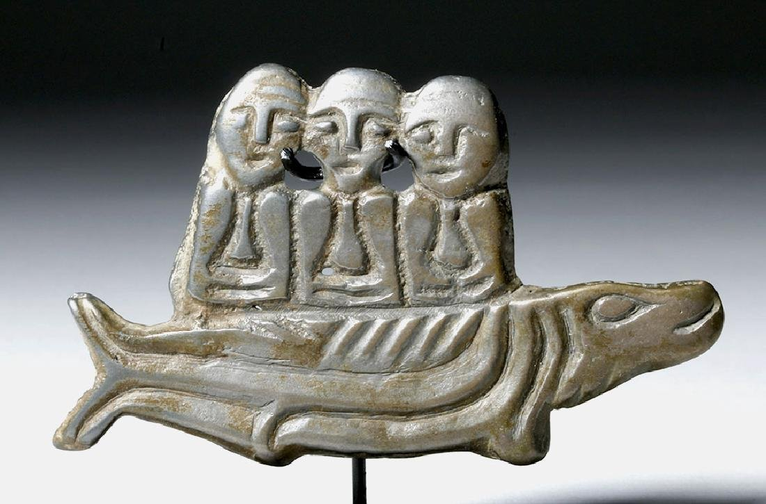 9th C. Russian White Bronze Amulet - 3 Males on Fish - 5