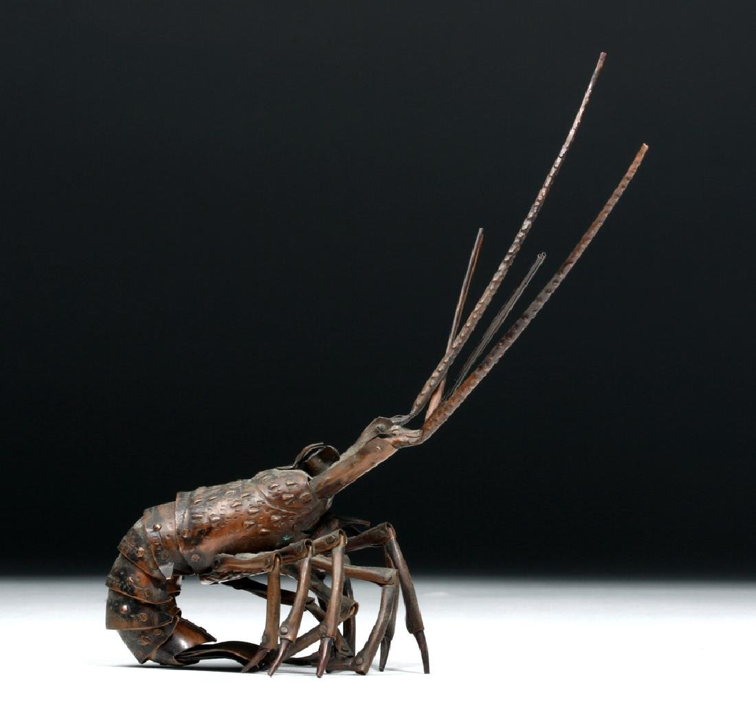 Signed 19th C. Japanese Bronze Articulated Lobster