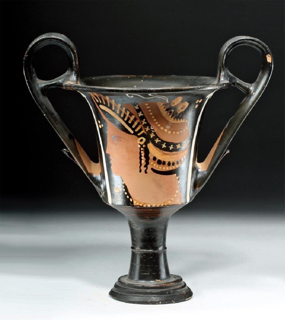 Greek Apulian Pottery Stemmed Kylix w/ Lady of Fashion