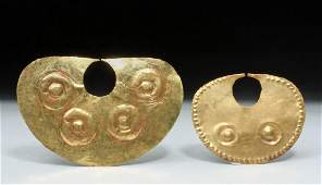 Pair Moche High Karat Gold Nose Rings  15  19 g
