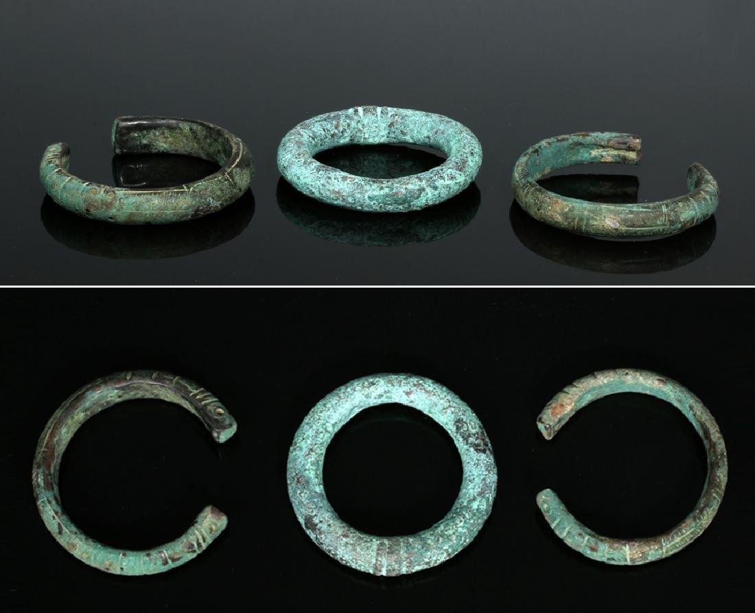 Trio of Bronze Luristan Bracelets